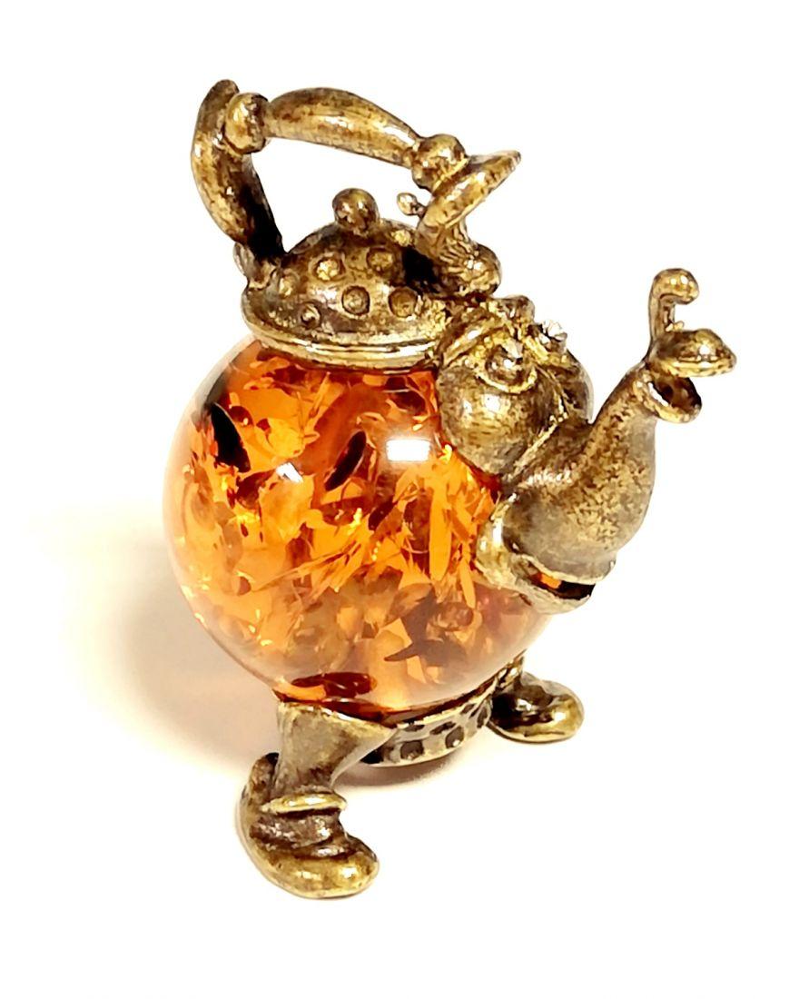 Фигурка Чайник с янтарем