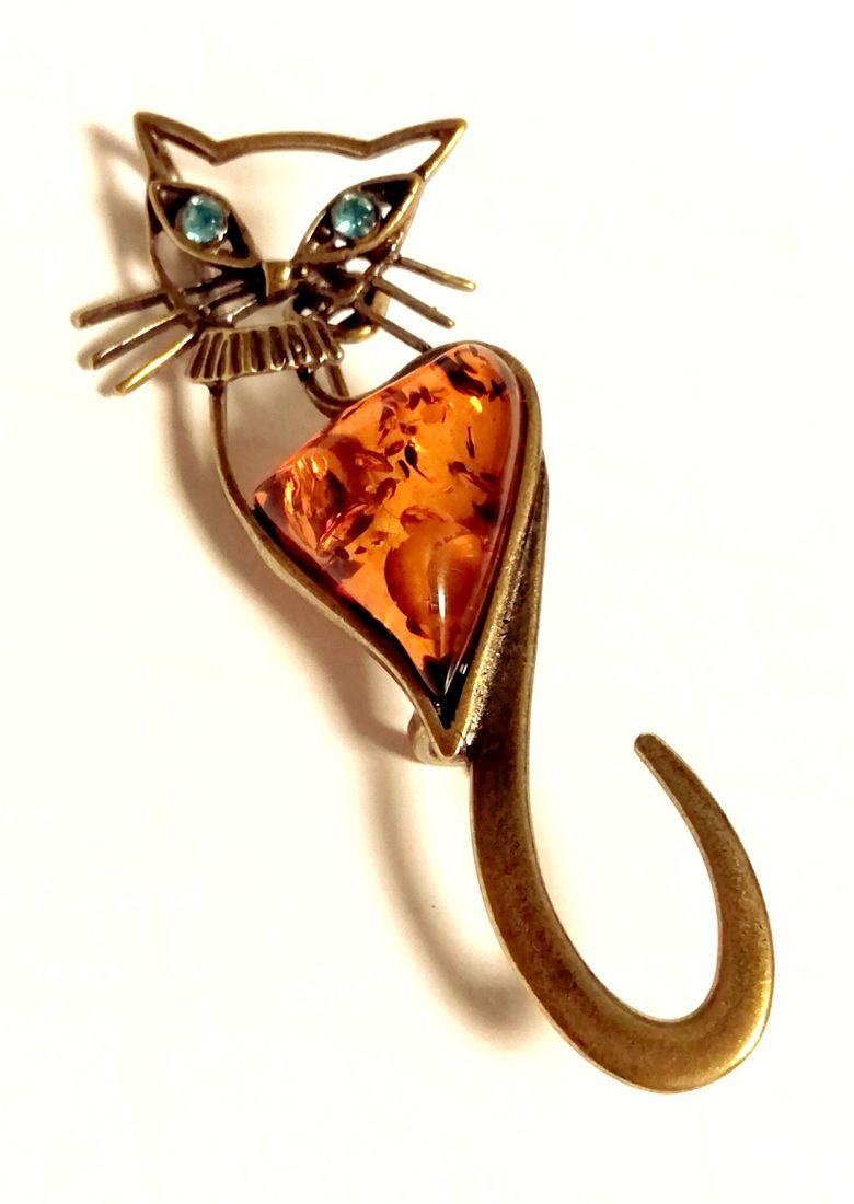 Брошь Кошка c янтарем