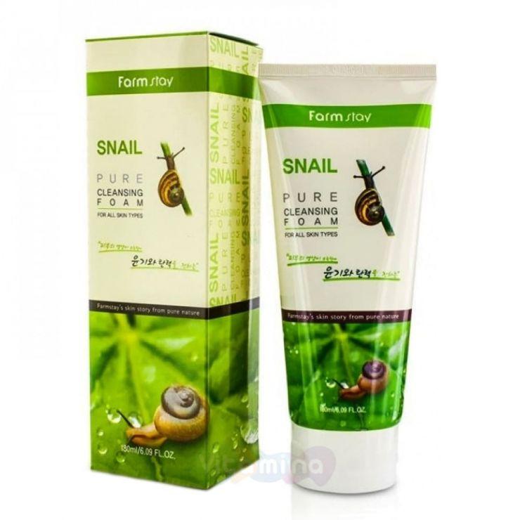 FarmStay Пенка для умывания с улиточным муцином Snail Pure Cleansing Foam, 180 мл