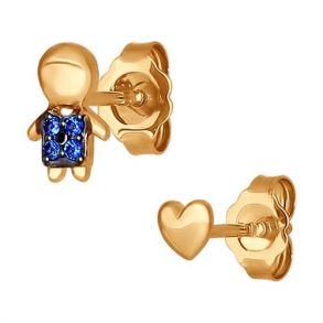Асимметричные серьги-гвоздики из золота 027239 SOKOLOV