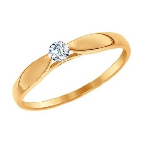 Помолвочное кольцо из золота со Swarovski Zirconia 81010234 SOKOLOV