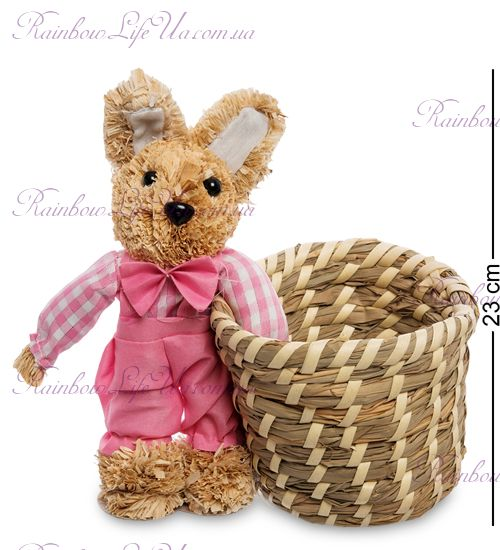 "Корзинка плетеная ""Заяц в розовом костюме"""