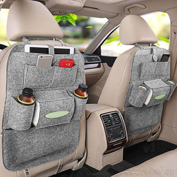 Органайзер для спинки сиденья авто Vehicle Mounted Storage Bag, Цвет: Светло-серый