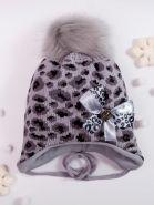 РБ Шапка для девочки вязаная с помпоном, на завязках, леопард, сбоку бант, серый