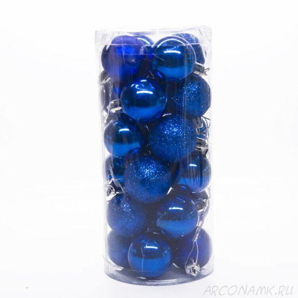 Набор украшений для елки Шары в колбе 7.5 см, 24 шт., Цвет: Синий