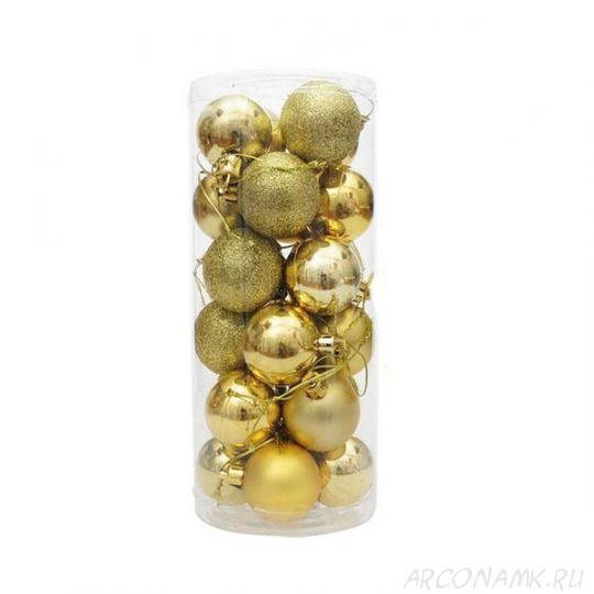 Набор украшений для елки Шары в колбе 7.5 см, 24 шт., Цвет: Золото