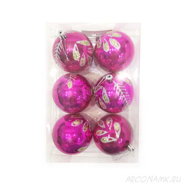 Набор елочных игрушек Шары с листьями 7.5 см, 6 шт., Цвет: Розовый