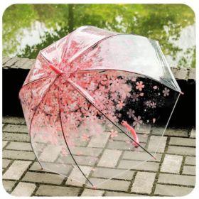 FULTON ПРОЗРАЧНЫЙ ЗОНТ-ТРОСТЬ с розовым орнаментом Сакура