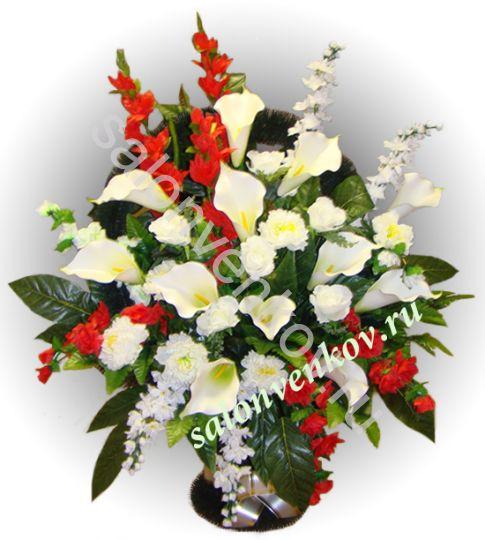 Ритуальная корзина из искусственных цветов N19, РАЗМЕР 60см, 80см,90 см