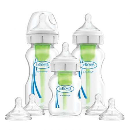 "Dr.Brown's Natural Flow® Набор из трех бутылочек с широким горлышком ""Options+"", две бутылочки 270 мл, одна - 150 мл, две соски от 3-х мес. и две - от 6 мес. (арт. WB03606)"