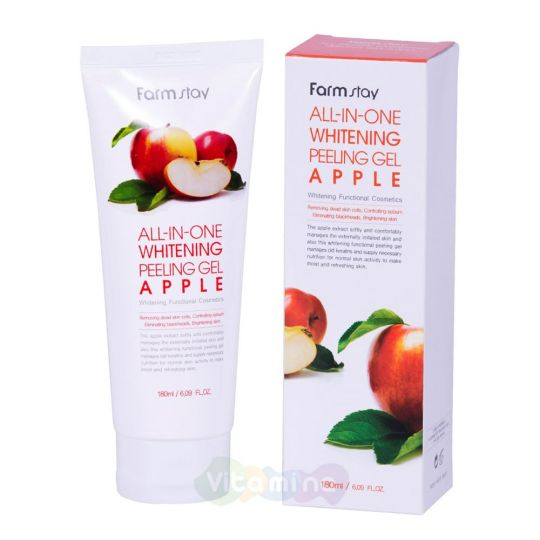 FarmStay Пилинг-скатка c экстрактом яблока All In One Whitening Peeling Gel Apple, 180 мл