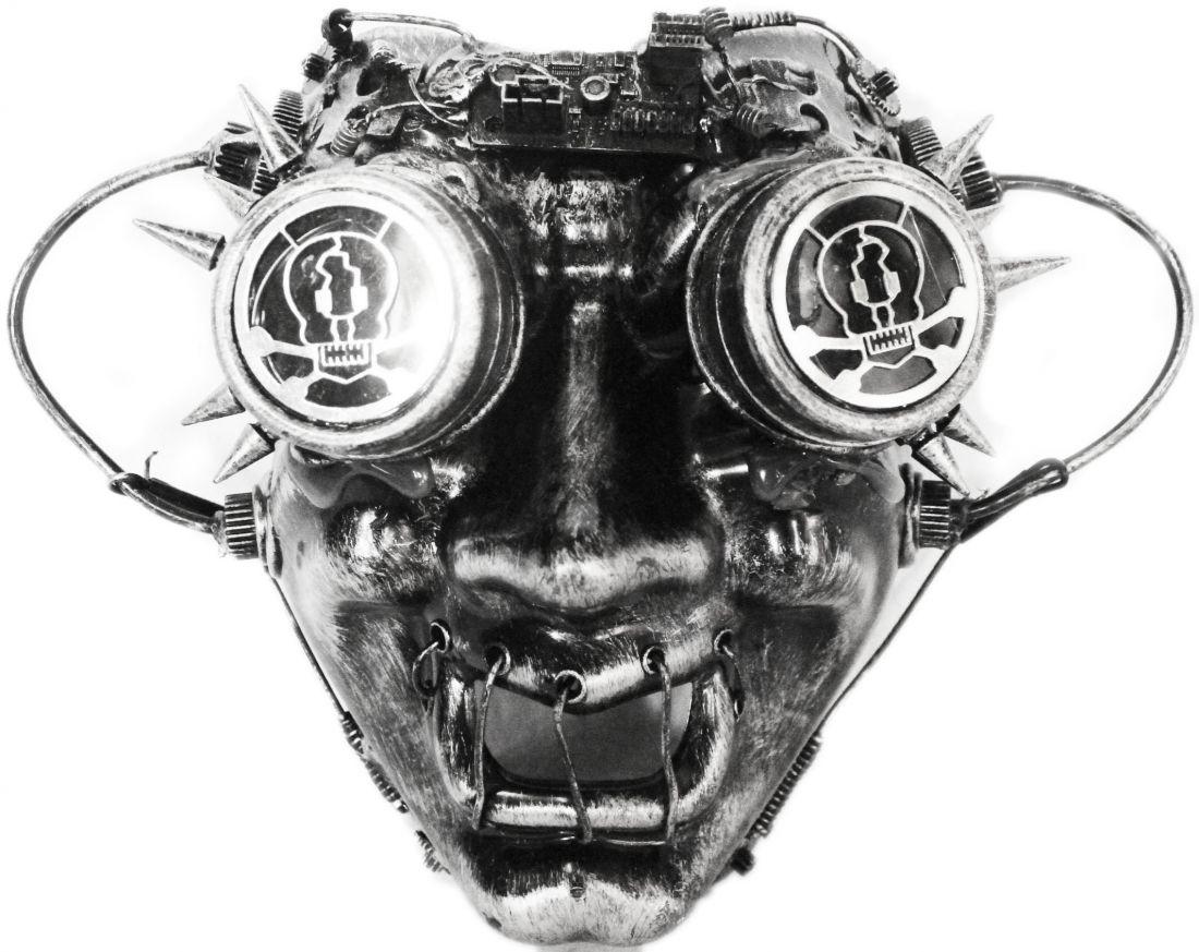 Серебристая маска Стимпанк в очках