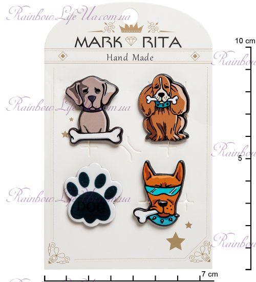 """Набор брошей с цанговым зажимом бабочка Собаки """"Mark Rita"""""""