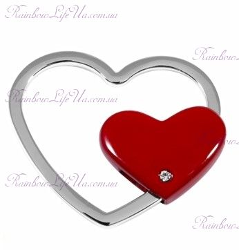 "Брелок красное сердце Silver ""Elite"""
