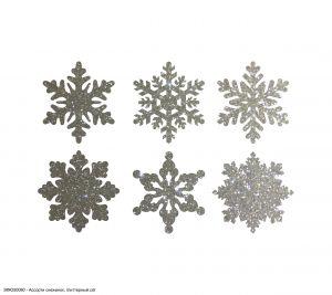 Вырубка ''Ассорти снежинок, набор - 6 видов по 1 шт, 5 см'' , глиттерный фоамиран 2 мм (1уп = 5наборов)