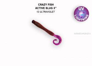"""Мягкая приманка Crazy Fish Active Slug 3"""" 70мм / упаковка 8 шт / цвет: 12-6 (запах кальмар)"""