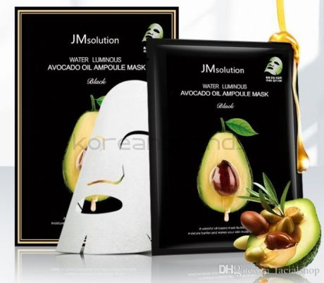 JM SOLUTION water luminous avocado oil ampoule mask black