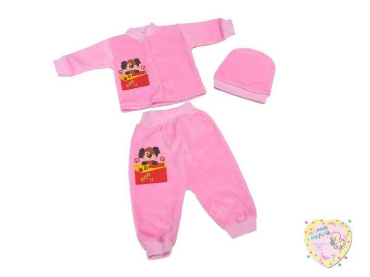 Костюм велюровый розовый: шапка, кофта, штаны dA2-KS213-VL