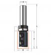 CMT 656.190.11 Фреза обгонная верхний подшипник сменные ножи HM Z2 S8 D19x28,3 RH