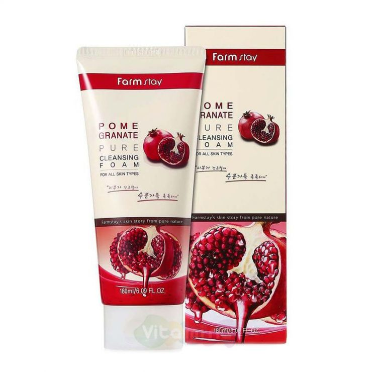 FarmStay Антивозрастная пенка для умывания с экстрактом граната Pomegranate Pure Cleansing Foam, 180 мл