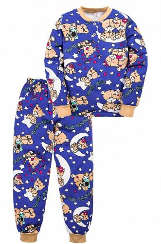 Теплая пижама для девочки 7-10 лет Bonito BN955Д синий