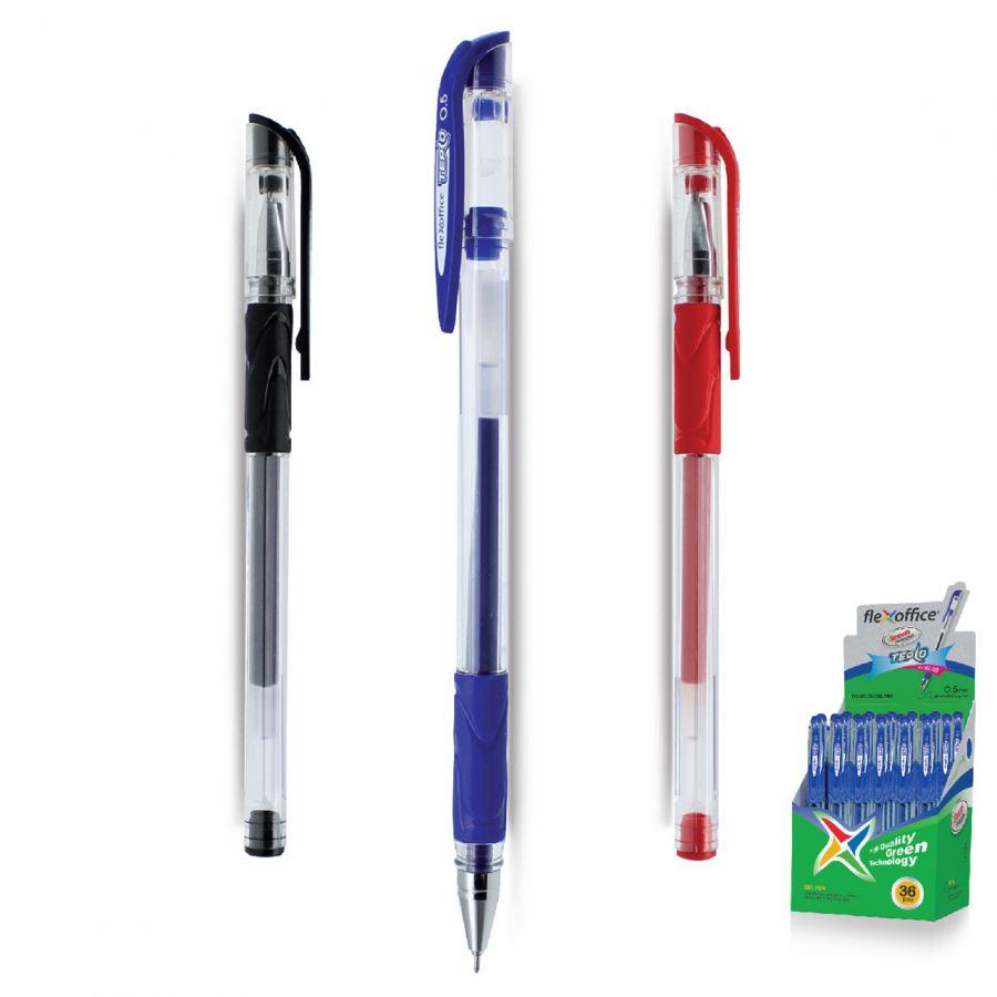 Ручка гель FLEXOFFICE  Tepco  красн 0.5/127мм/иг резиновый корпус