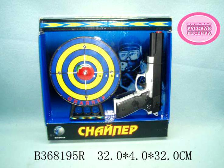 Набор пистолет с мишенью на батарейках(звук)в коробке