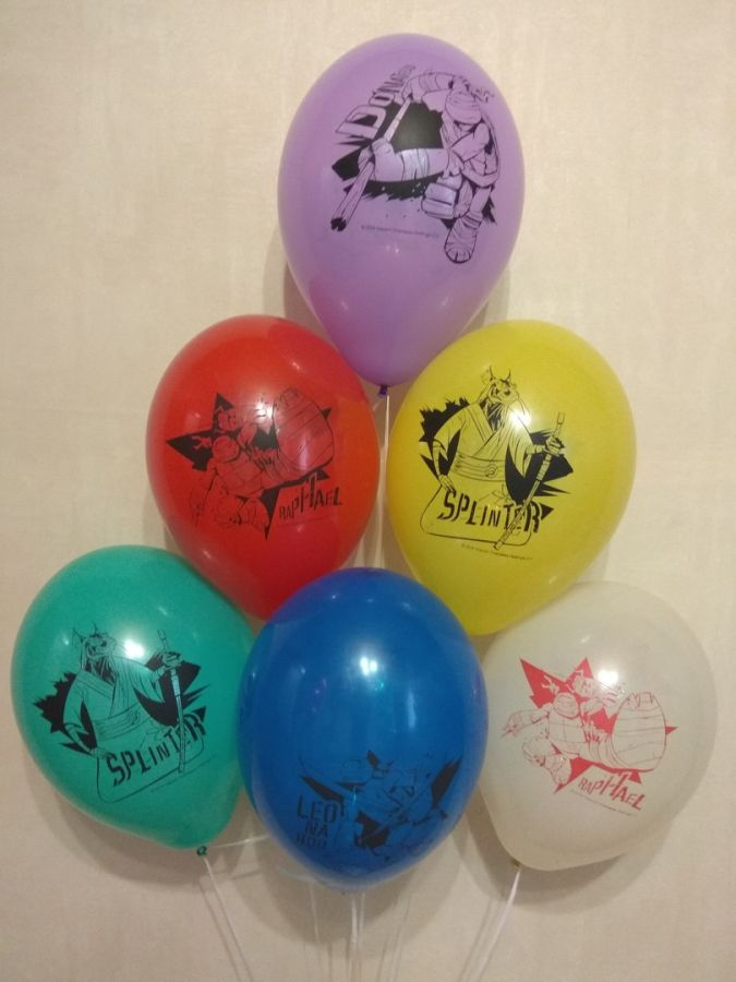 Черепашки-ниндзя латексные шары с гелием