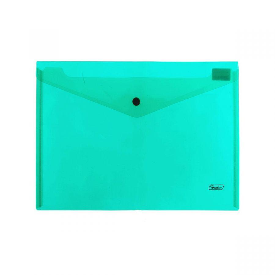 Папка-конверт на кнопке А4+ 0,18ммнепрозрачный зеленый ХАТБЕР AKk4_00004