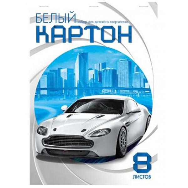 "Картон белый мелов А4 08л ""Белая машина"" наскрепке ХАТБЕР NN 16124"