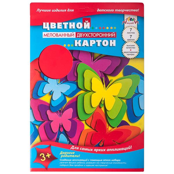 """Картон цветной мелов двуст А4 07л 7цв """"Бабочки"""" в папке"""