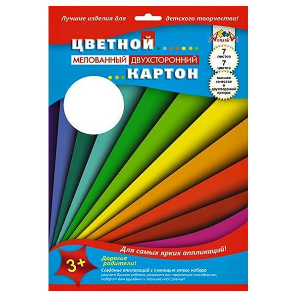 """Картон цветной мелов двуст А4 07л 07цв """"Цветные полосы"""""""