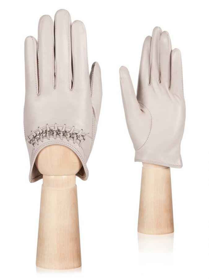 Кожаные женские перчатки без подкладки ELEGANZZA