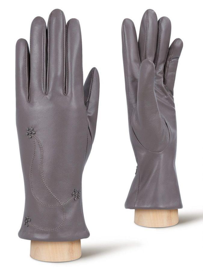 Кожаные перчатки с декоративной строчкой ELEGANZZA