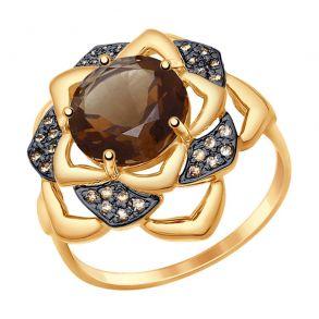 Кольцо из золота с раухтопазом и жёлтыми фианитами 714748 SOKOLOV