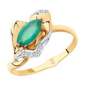 Кольцо из золота с агатом и фианитами 715666 SOKOLOV