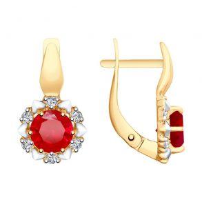 Серьги из золота с красными корундами (синт.) и фианитами 725646 SOKOLOV