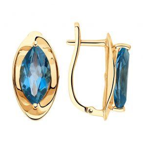 Серьги из золота с синими топазами 725841 SOKOLOV