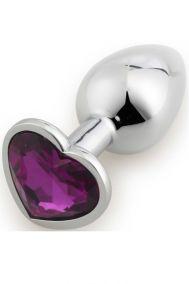Анальная пробка металлическая Runyu Plug Small с фиолетовым кристаллом-сердцем, 7,5*2,8 см