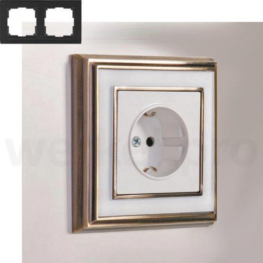 Рамка на 2 пост WL17-Frame-02 бронза / белый