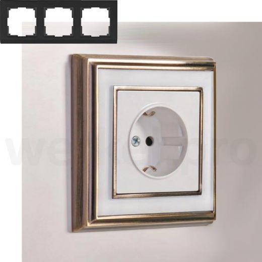 Рамка на 3 пост WL17-Frame-03 бронза / белый