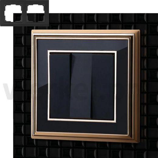 Рамка на 2 пост WL17-Frame-02 золото / черный