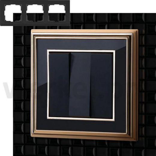 Рамка на 3 пост WL17-Frame-03 золото / черный