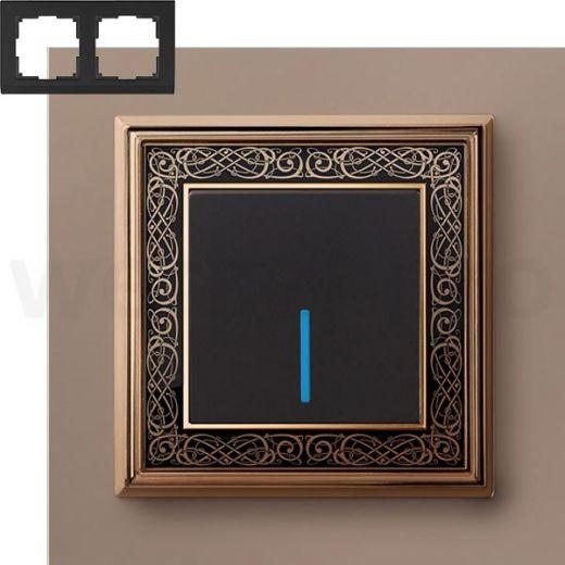 Рамка на 2 пост WL77-Frame-02 золото/черный