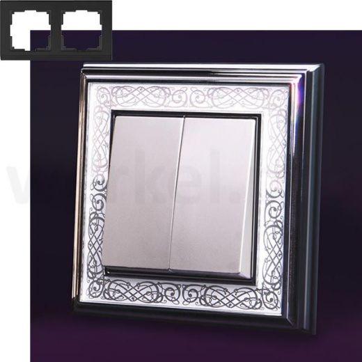 Рамка на 2 пост WL77-Frame-02 хром/белый