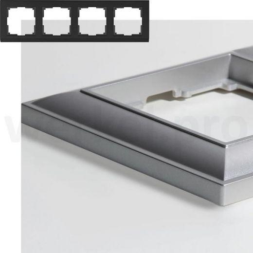 Рамка на 4 пост WL14-Frame-04 серебряный