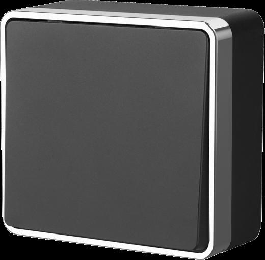 Выключатель одноклавишный WL15-01-01 черный с серебром