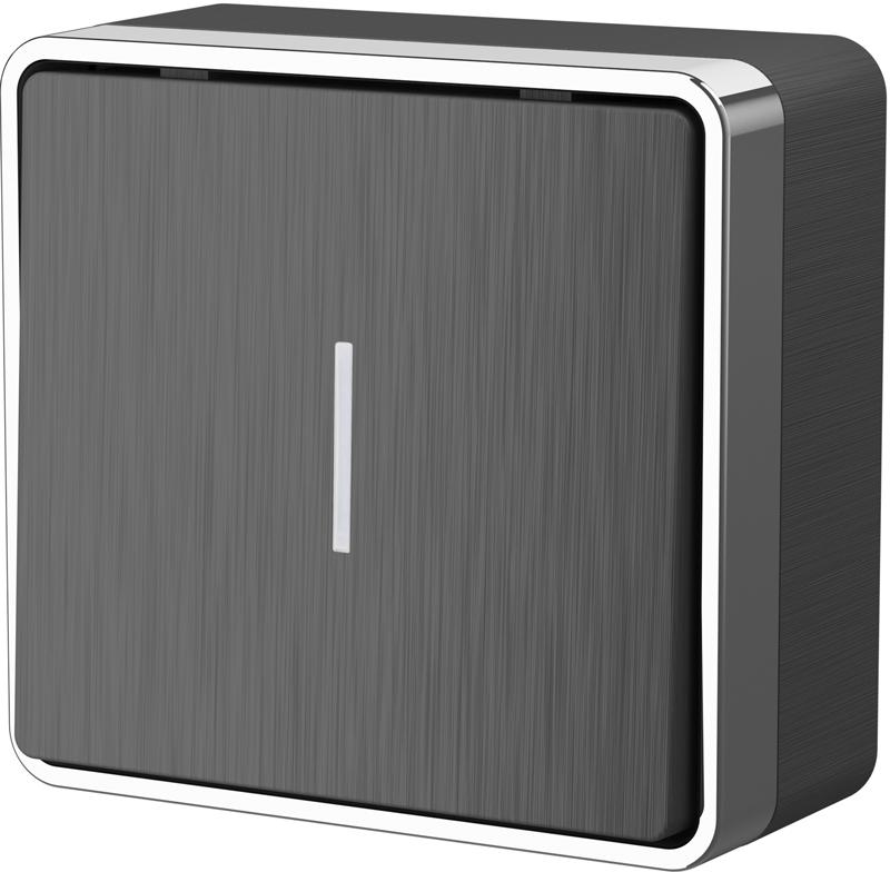 Выключатель одноклавишный с подсветкой WL15-01-04 графит рифленый
