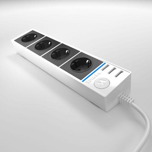 Розеточный блок 4-х местный + 3 USB WL20-04-03 белый/черный