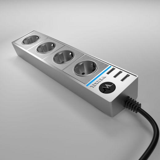 Розеточный блок 4-х местный + 3 USB WL20-04-03 серебряный/серебряный рифленый